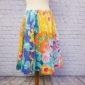 Lauren Ralph Lauren Floral Pleated Skirt, Size 8